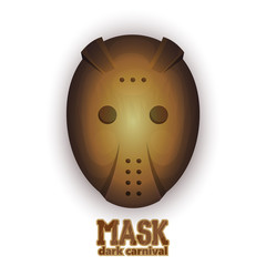 Scary hockey carnival mask. Vector illustration on a white background.