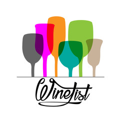 Wine list lettering with different glasses on white background. Vector illustration