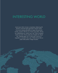 title page of the report template with world map on a dark blue background