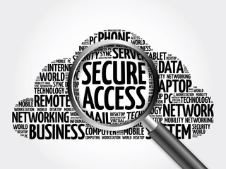 Secure Access word cloud with magnifying glass, business concept 3D illustration
