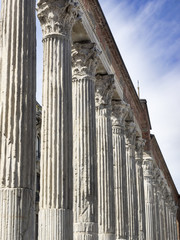 Ancient Roman Columns: A colonnade of marble columns from the 2nd century C.E. in Milan, Italy
