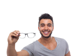 Casual Man Hold Eye Glasses Young Businessman