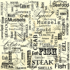 A set of food for the cafe, restaurant and fast food on paper stained in spots. Seafood. Marine life.