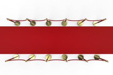 top view red carpet with rope barrier