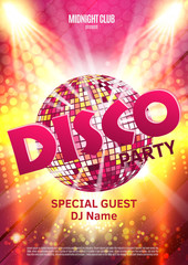 Disco party poster. Background party with disco ball