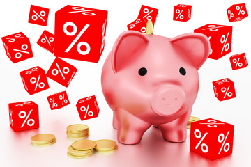 Discount dice and piggy bank with coins, 3d illustration