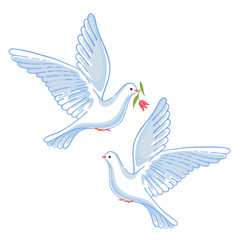 Soaring dove with flower