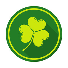 vector illustration of a shamrock. St. Patrick's day flat and long shadow design element