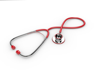 3d rendered red stethoscope isolated over white