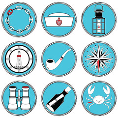 Nautical elements type 4 icons in knotted circle including sailors hat, chain , pipe, message in the mottle, crab, rose winds, rudder, anchor, light house, boat style windows, lantern, binoculars