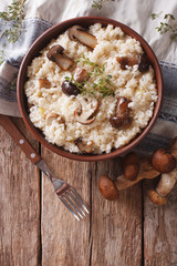risotto with porcini mushrooms and thyme close-up. Vertical top view