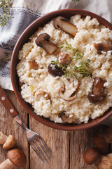 Italian rice with wild mushrooms close up on the table. Vertical top view