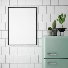 mock up poster frame in hipster interior background, 3D rendering, 3D illustration