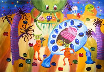 """Детский рисунок гуашью """"Весёлая планета"""""""