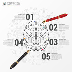 Brain infographic concept with pen. Vector