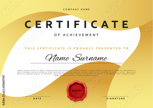 Template certificate design in gold color award certificate in template certificate design in gold color award certificate in flat style diploma frame awarding yadclub