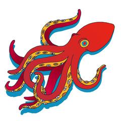 Vector hand drawn octopus. Sea octopus sketch