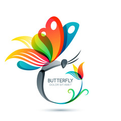 Colorful butterfly and flower, vector isolated illustration. Round floral frame with butterfly. Logo design elements. Concept for beauty salon, fashion, spa, cosmetics or makeup labels.
