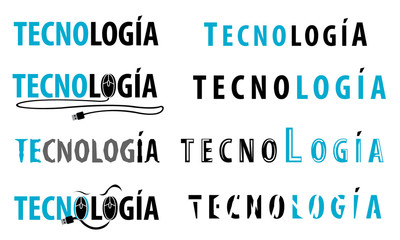 Differents logos with the Word tecnology.
