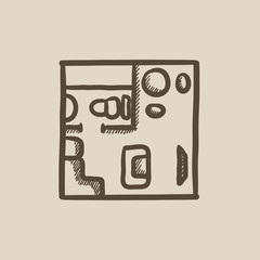 House interior with furniture sketch icon.