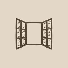 Open windows sketch icon.