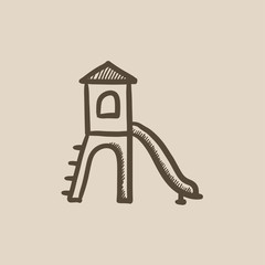 Playground with slide sketch icon.