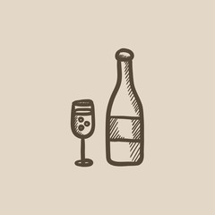 Bottle of champaign and glass sketch icon.