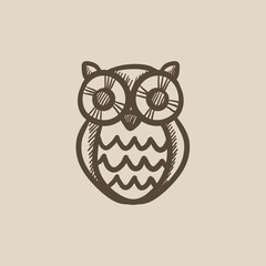Owl sketch icon.