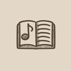 Music book sketch icon.