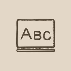 Letters abc on blackboard sketch icon.