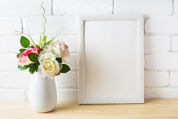 Shabby chic style white frame mockup with pink roses