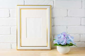 White frame mockup with blue hydrangea