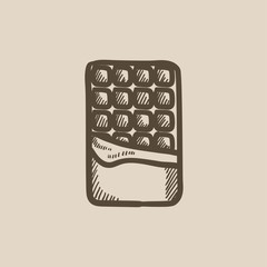 Opened bar of chocolate sketch icon.