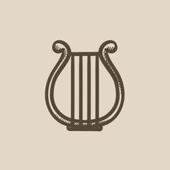 Lyre sketch icon.