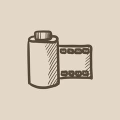 Camera roll sketch icon.