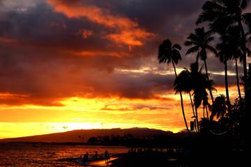 Waikiki beach sun set in Hawaii