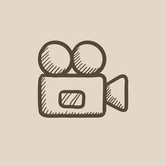 Video camera sketch icon.