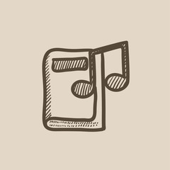 Audio book sketch icon.