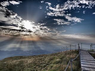 岡山 大山山頂の夕焼け