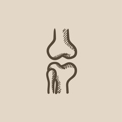 Knee joint sketch icon.
