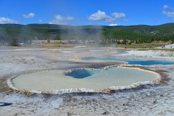 Hot geyser pool in Old Faithful area