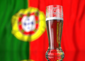 a glass of beer in front a portuguese flag. 3D illustration rendering