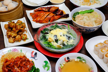 A typical chinese food meal on the table
