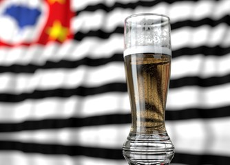 a glass of beer in front a state of sao paulo flag. 3D illustration rendering.