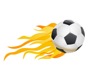 soccer ball and fire flames. vector illustration