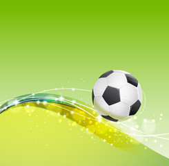 football theme background with soccer ball and wavy lines