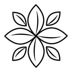 black and white plant flower front view over isolated background, vector illustration
