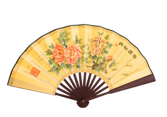 Chinese folding fan with flower painting on white background.