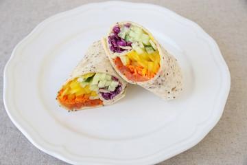Go green, Rainbow salad tortilla wraps