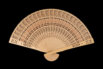 folding fan isolated on black background